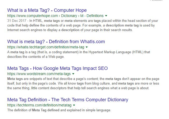 "screen clip of Google results for the search term ""What is a meta tag?"""