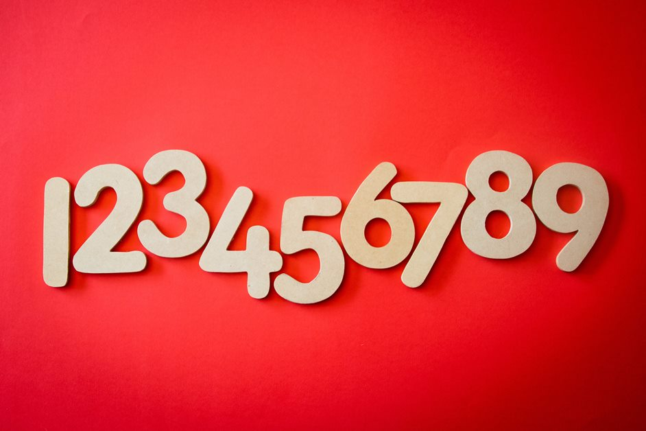 number sequence one to nine on a red background