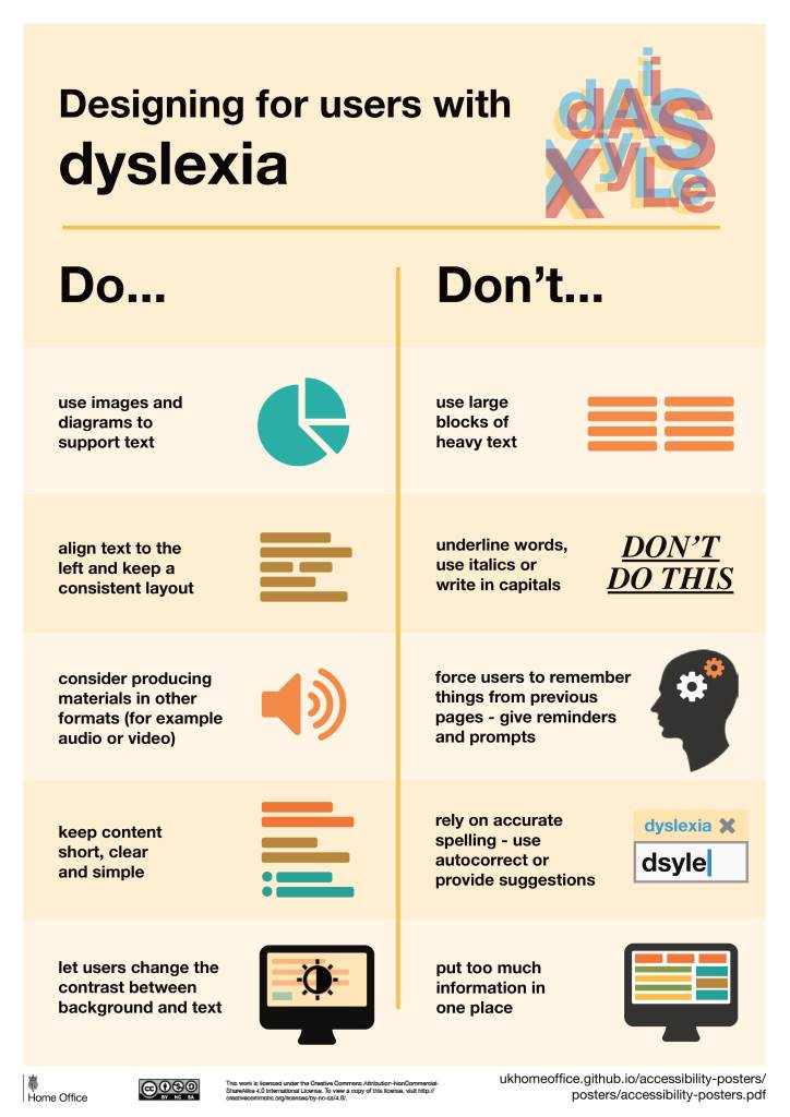 infographic on designing for users with dyslexia
