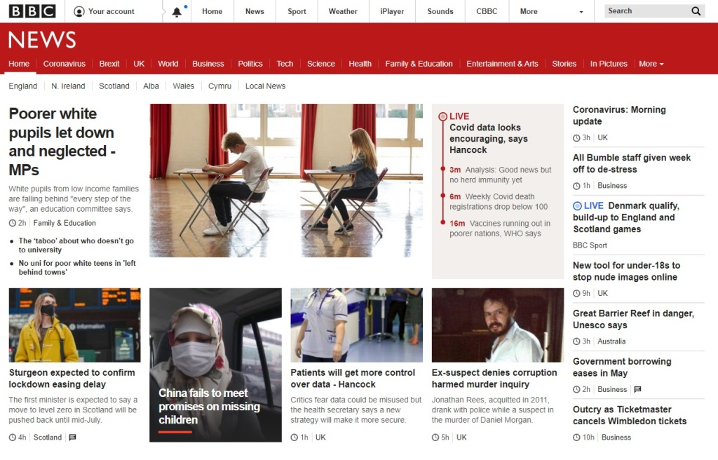 screen shot of BBC News home page