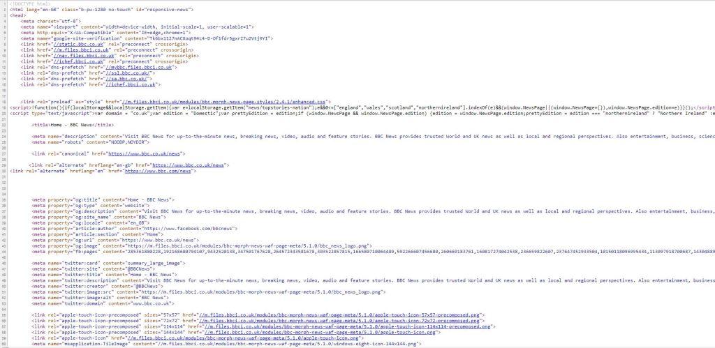 screen shot of source code