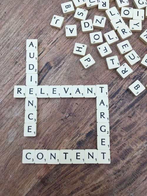 scrabble tiles spelling out Audience, Relevant, Target, Content