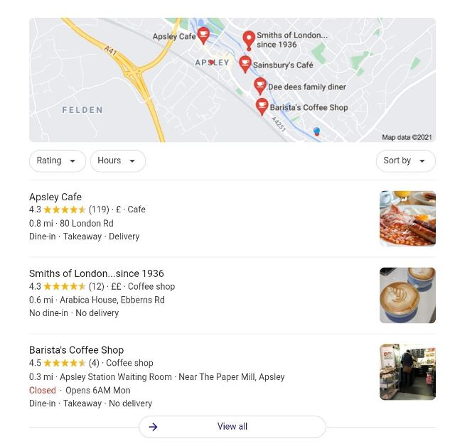 """Google 3 Pack showing map and top 3 GMB listings for """"coffee shops near me"""""""