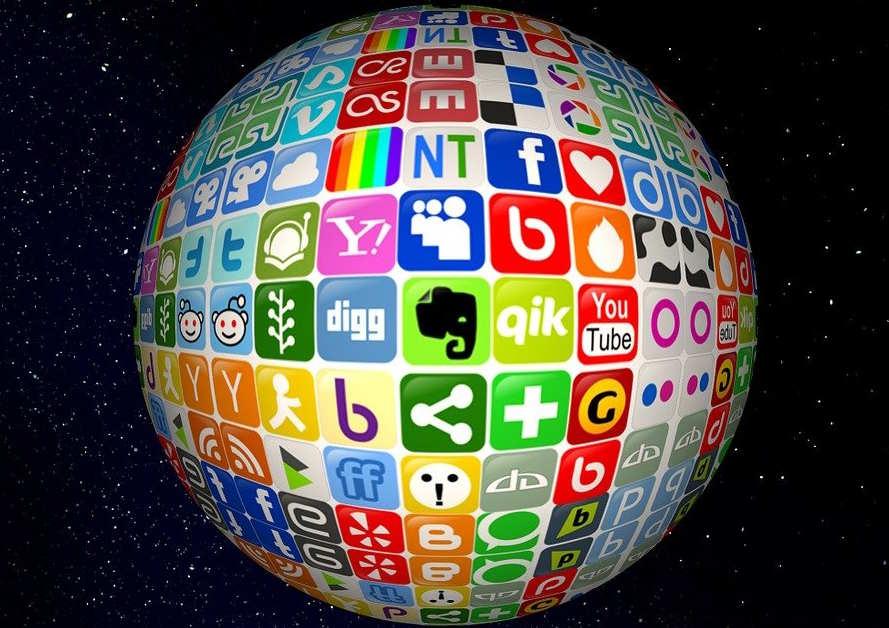 globe showing social media icons