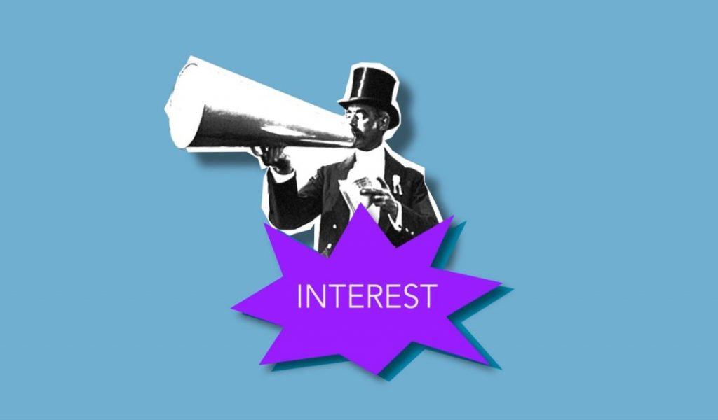 """man in top hat using megaphone with """"interest"""" on purple flash"""